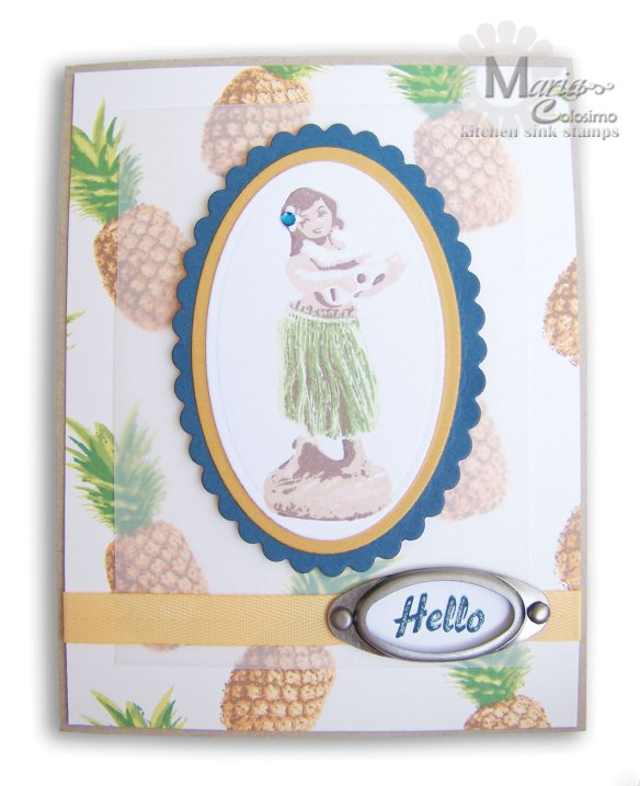 Hello Hula Girl with Pineapples card