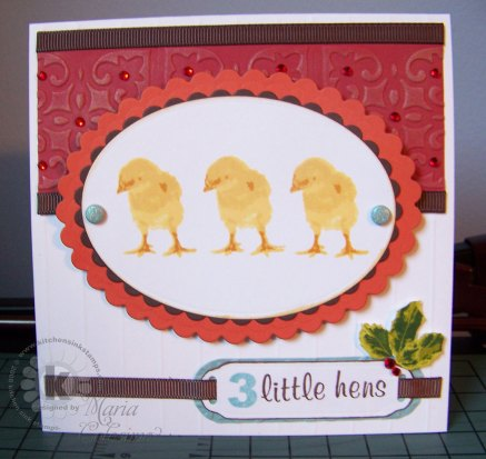 "3 Little ""French"" Hens Christmas Card"