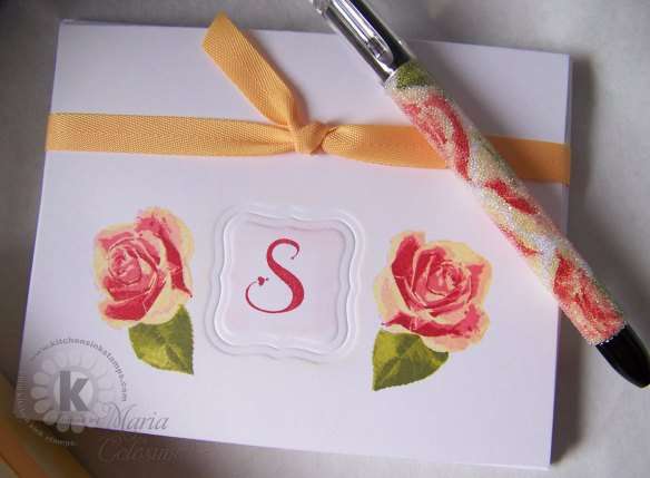 Roses Monogram Notes and Pen