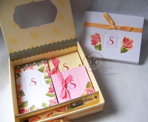 Inside Roses Note Box and Monogram Note Cards Set