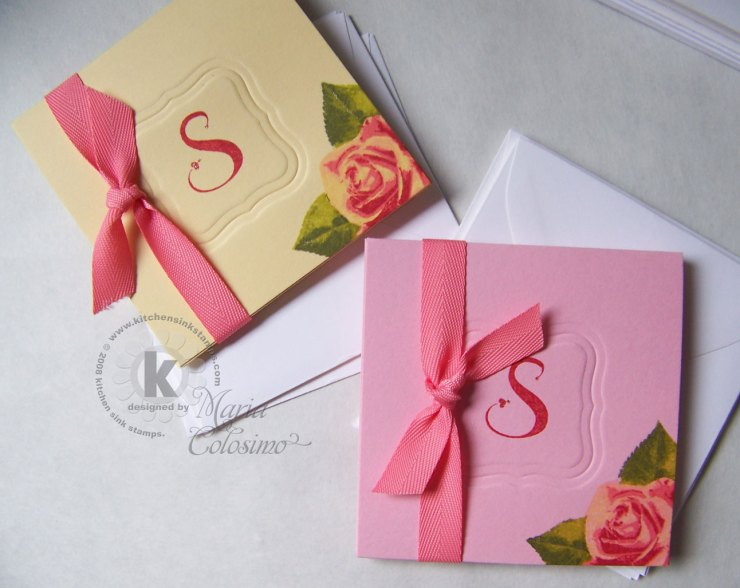 "Small 3"" Roses Monogram Notes Set"
