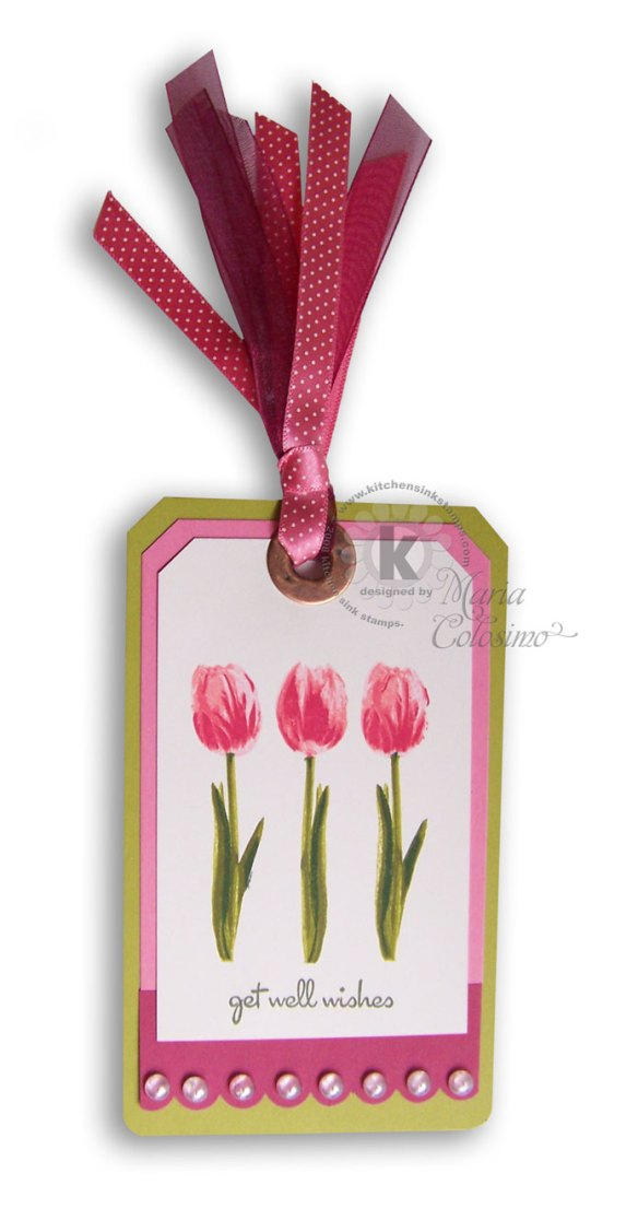 Pink Tulips Get Well Tag