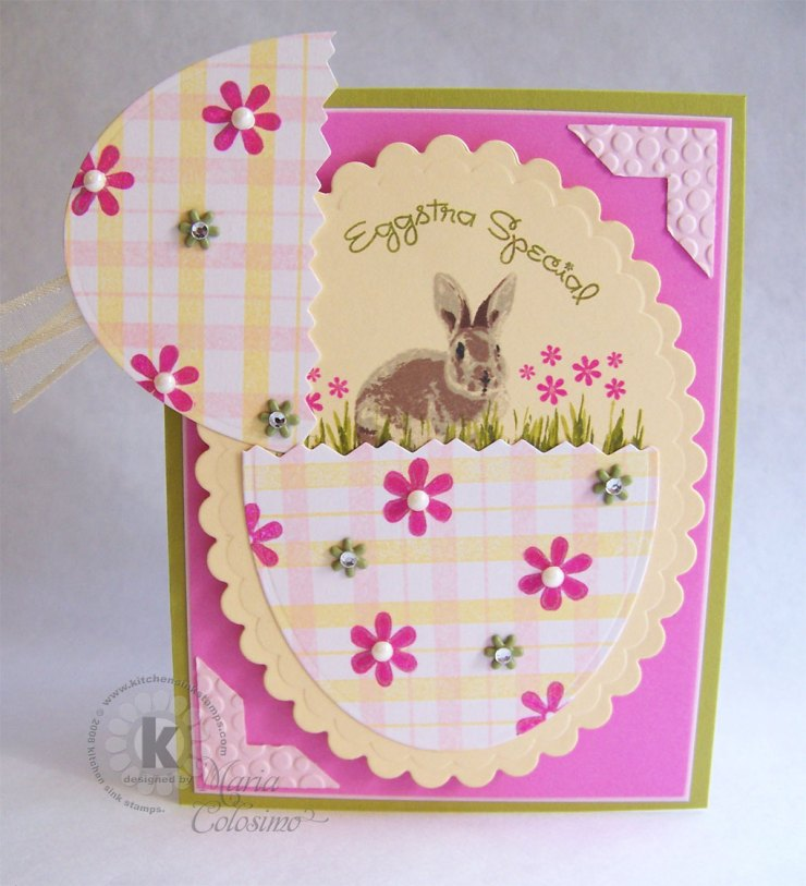 Plaid and Daisy Egg card - with Bunny inside