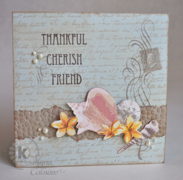 Thankful Cherish Friend Seashell card