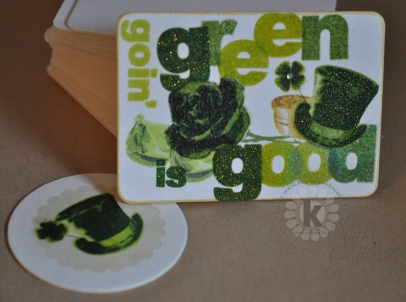2 green coasters