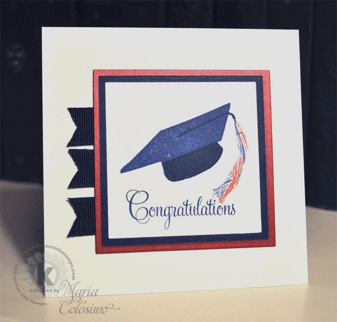 Blue Grad Cap Congratulations Card