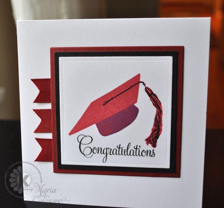 Red Grad Cap Congratulations Card