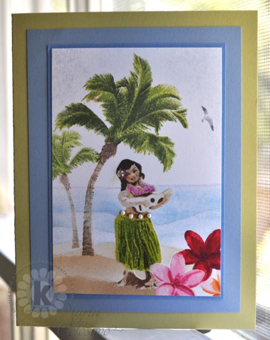 Hula Girl on Tropical Beach Card