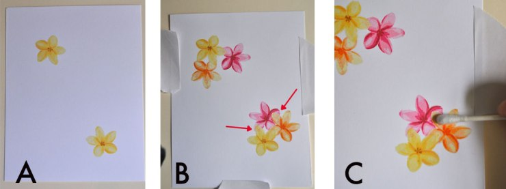 Steps A, B, C for masking with embossing powder