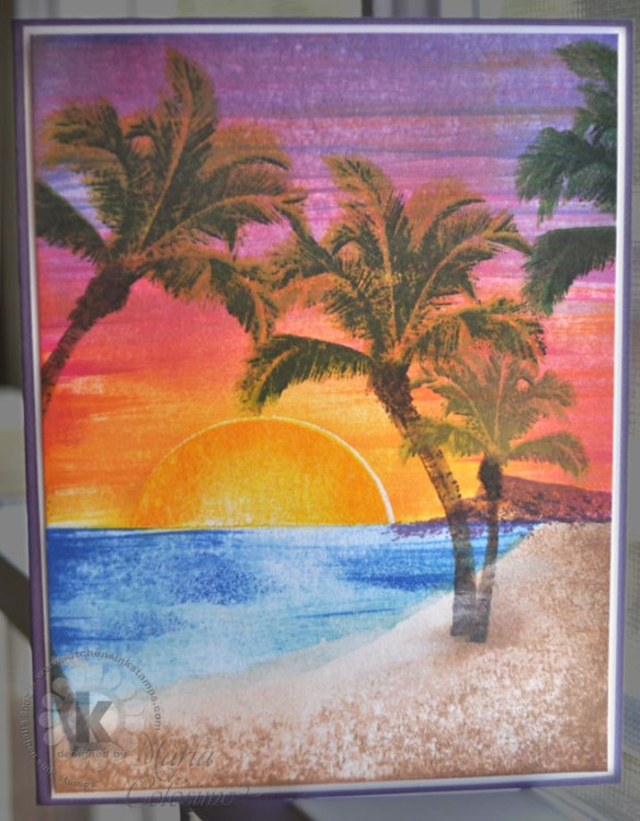 Tropical Island Sunset Card