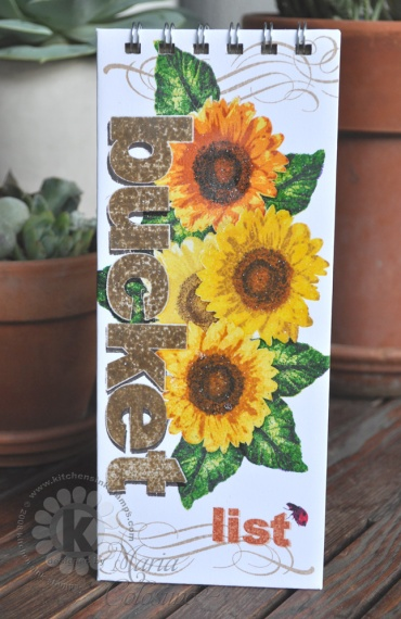 Sunflower Bucket Note Pad - front cover