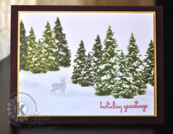 Snowy Pine Forest from Kitchen Sink Stamps
