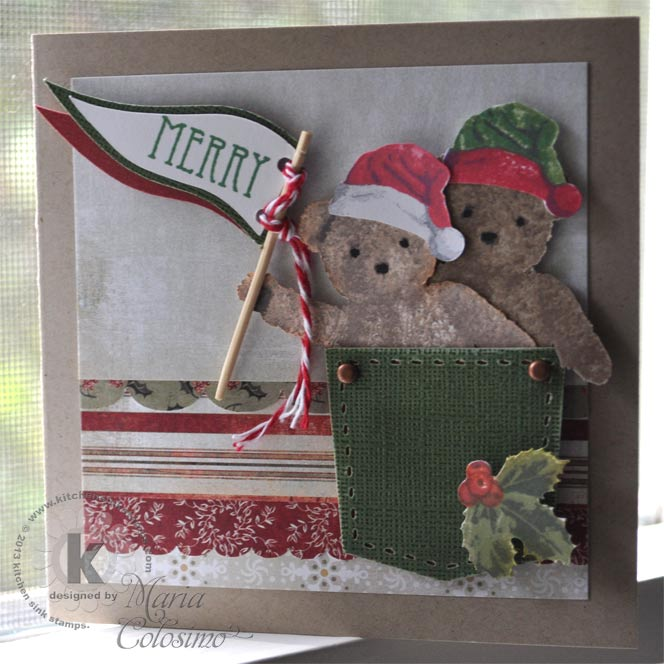 Santa Teddy Bears in Christmas Pocket Holiday Card