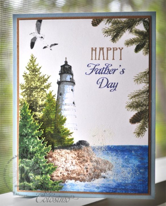 Lighthouse with pine trees - stamped with Kitchen Sink Stamps