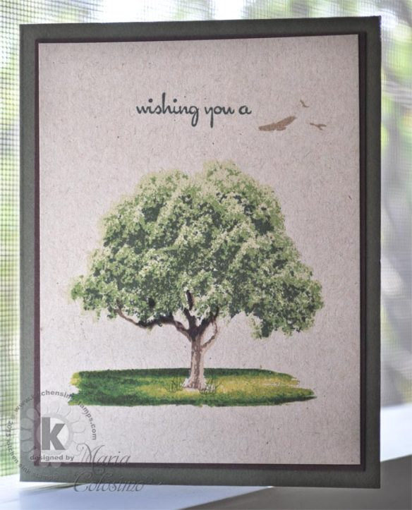 Tree on grass brush stroke - from Kitchen Sink Stamps