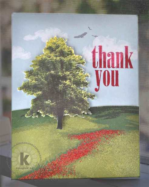 Tree in Poppy Field Thank You card