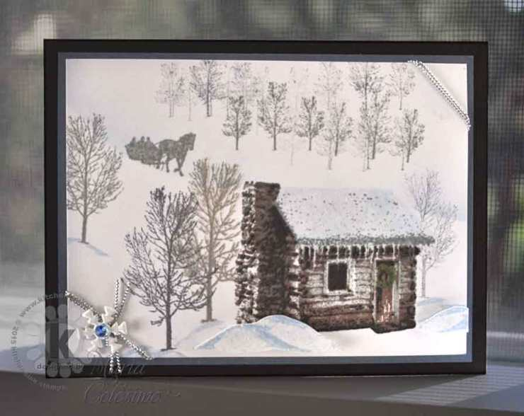 Winter Scene with Snowy Cabin Multi Step Clear Stamps