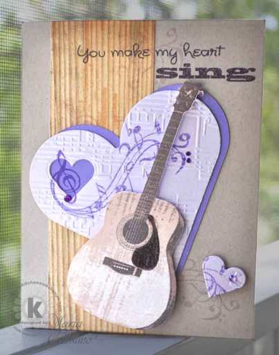Embellished Guitar Valentine Card