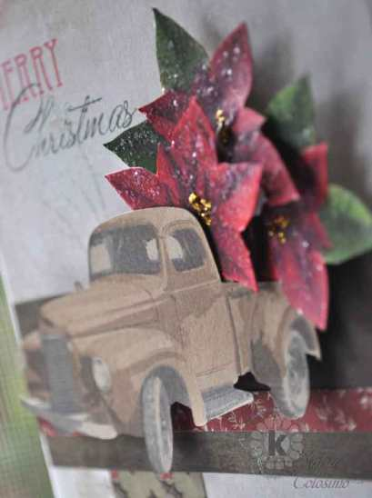 Close-Up Vintage truck full of poinsettia flowers
