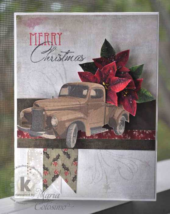 Vintage truck full of poinsettia flowers