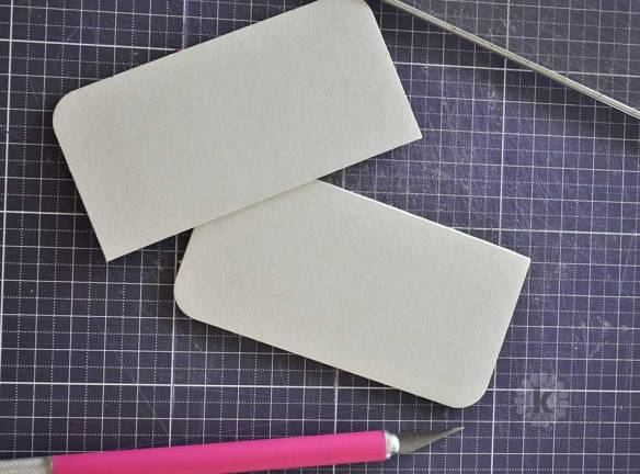"Cut 4"" square Coaster Chipboard in half"