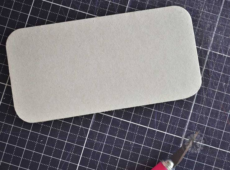 Finished cut coaster chipboard tag