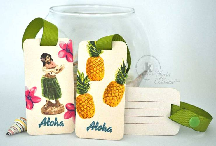 Hawaiian Luggage Tags Pineapple, & Hula Girl