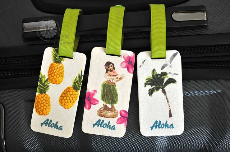 Hawaiian Luggage Tags Pineapple, Hula Girl, Palm Trees