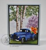 Springtime Truck with tulips and Birch trees