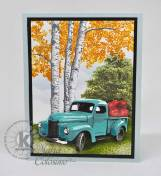 Summertime Truck with apples and Birch trees stamped as Aspen trees