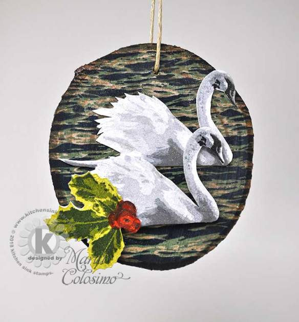 Swans-a-swimming-wood-ornament