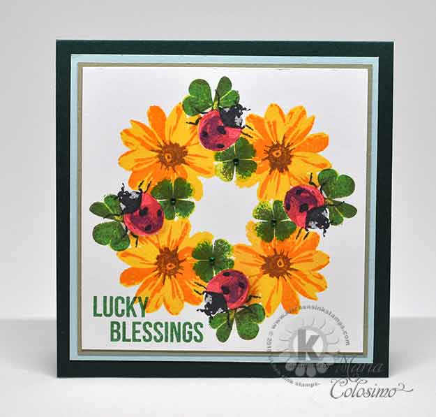 kitchen sink stamps lucky ladybugs and clover st s day card 2908