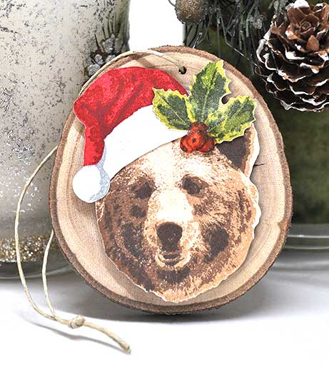 Santa Grizzly Bear Ornament